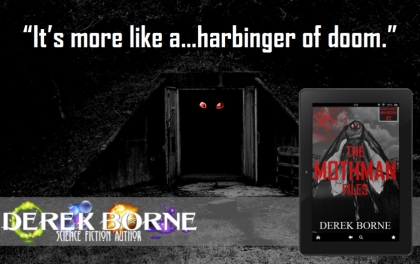 "A book teaser portraying the urban legend staring out at the viewer from the open double doors of an old wooden structure covered in leaves or moss. All the viewer sees are huge red eyes. A quote on the teaser says ""It's more like a...harbinger of doom."""