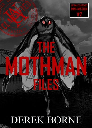 Cover of the Short Story Mothman. An artistic rendering of the urban legend flying in front of a bridge over water on a dreary day.